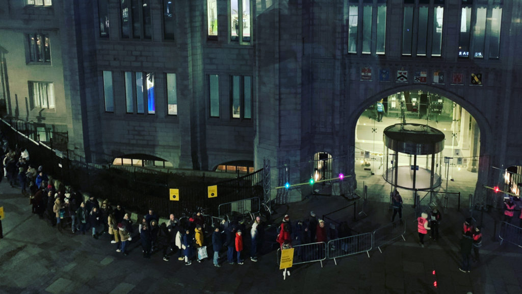 Crowds queuing outside Marischal College Aberdeen